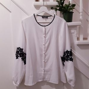 Karl Lagerfeld pearl buttoned blouse